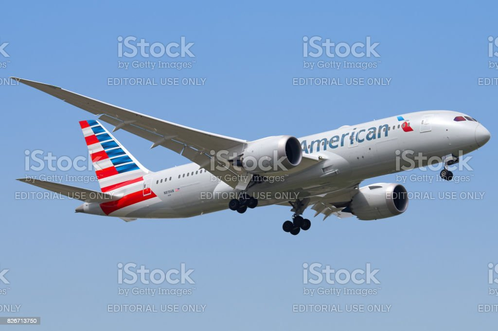 Aeronave da American Airlines - foto de acervo