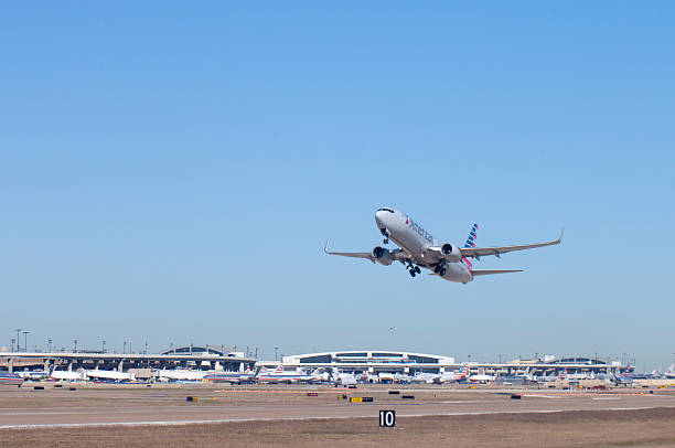 American Airlines Airplane at Dallas - Ft Worth (DFW) Airport stock photo