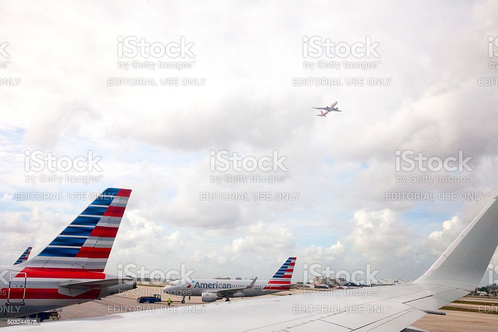 American Airlines airplanes at airport stock photo