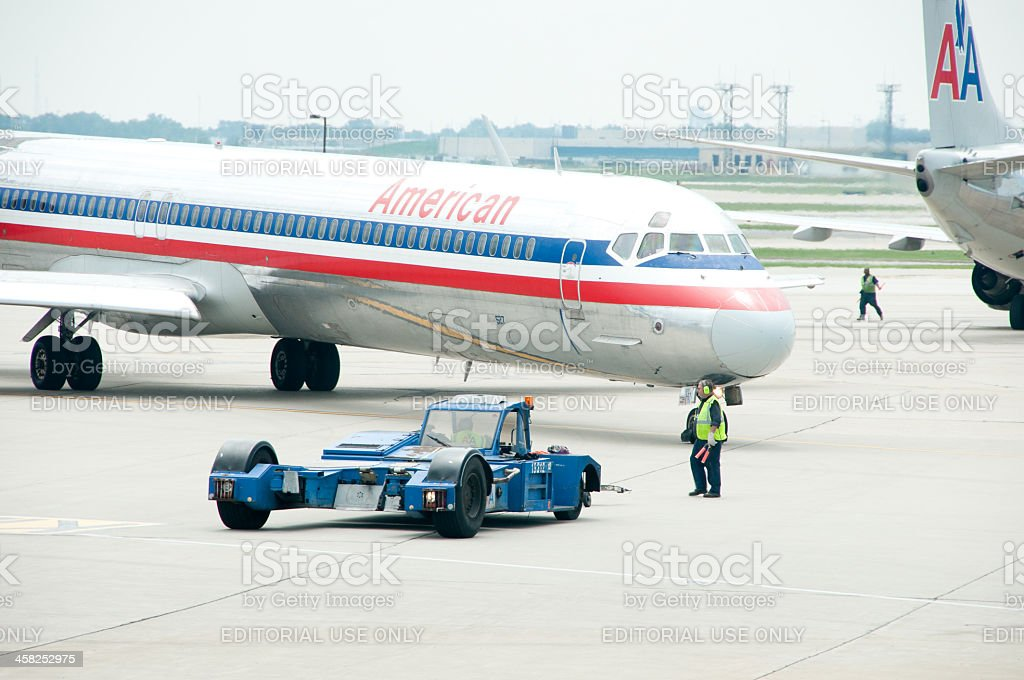 American Airlines and Ground Crew royalty-free stock photo