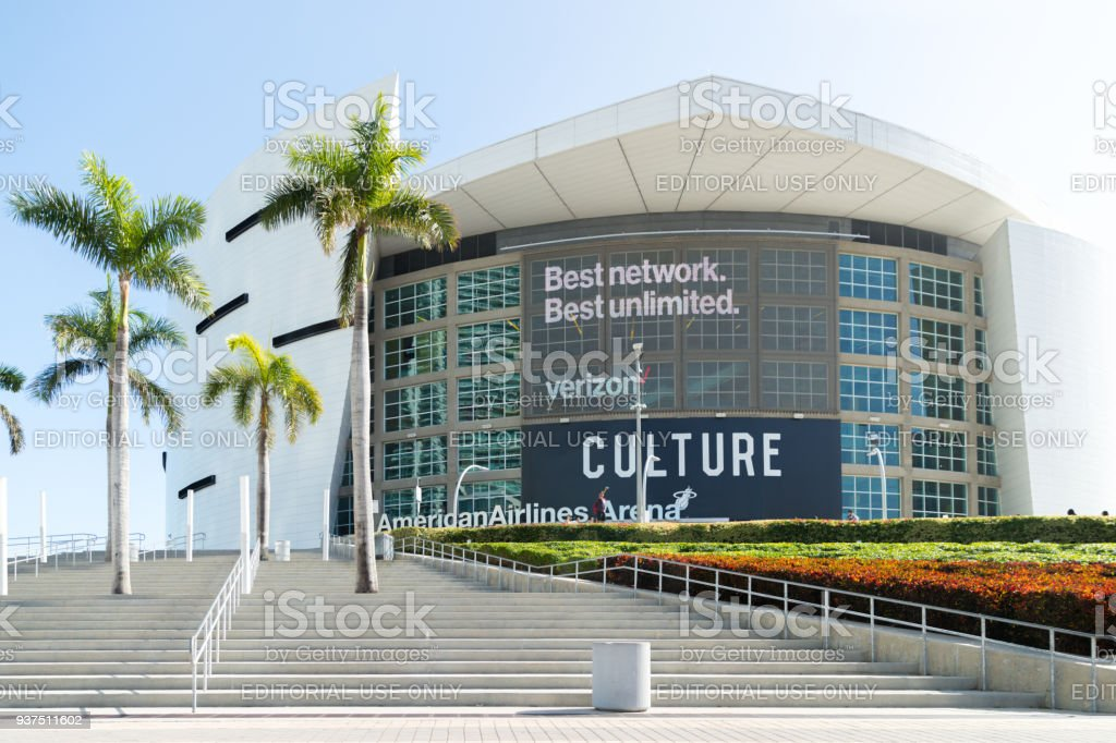 American Airlines Arena is home to the Miami stock photo