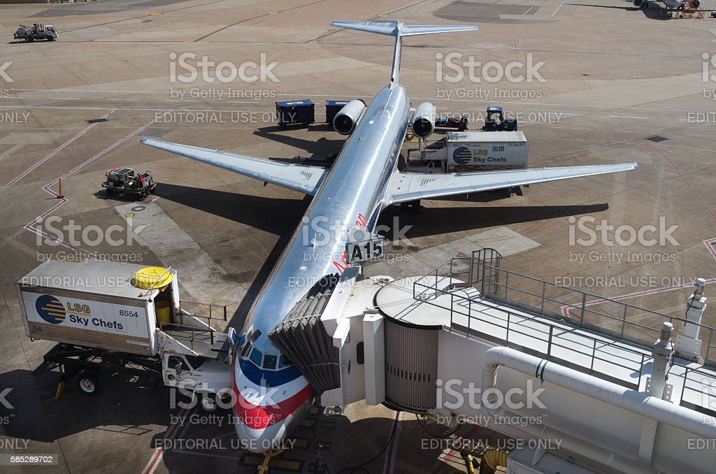 American Airlines at Gate A15 Dallas Fort Worth Airport stock photo