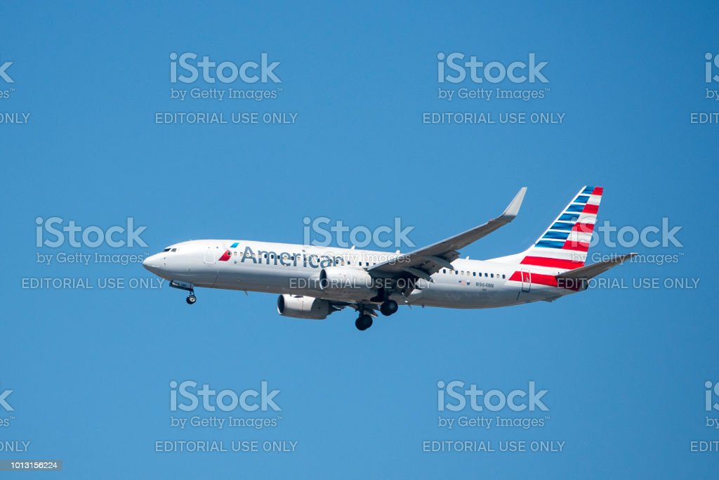 American Airlines Boeing 737 airplane stock photo