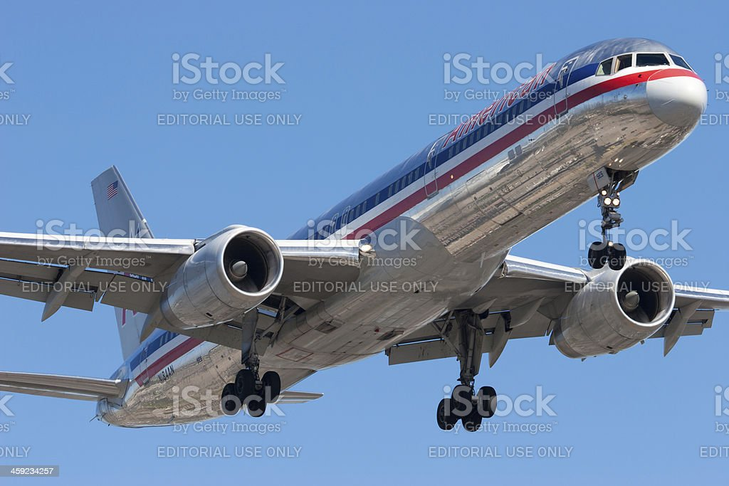 American Airlines Boeing 757 landing stock photo