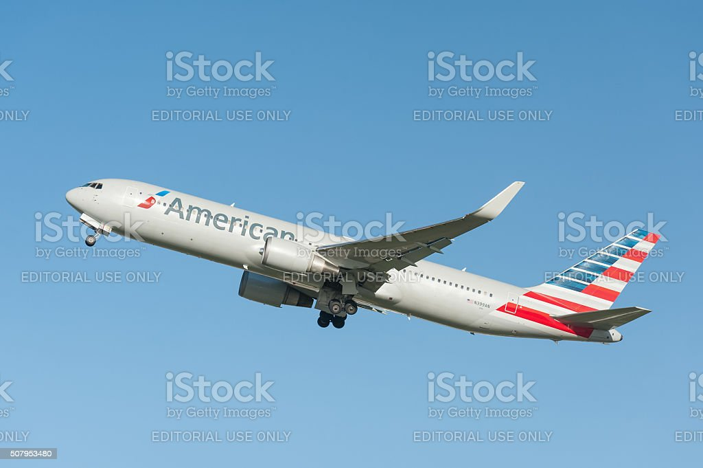 American Airlines Boeing 767 stock photo