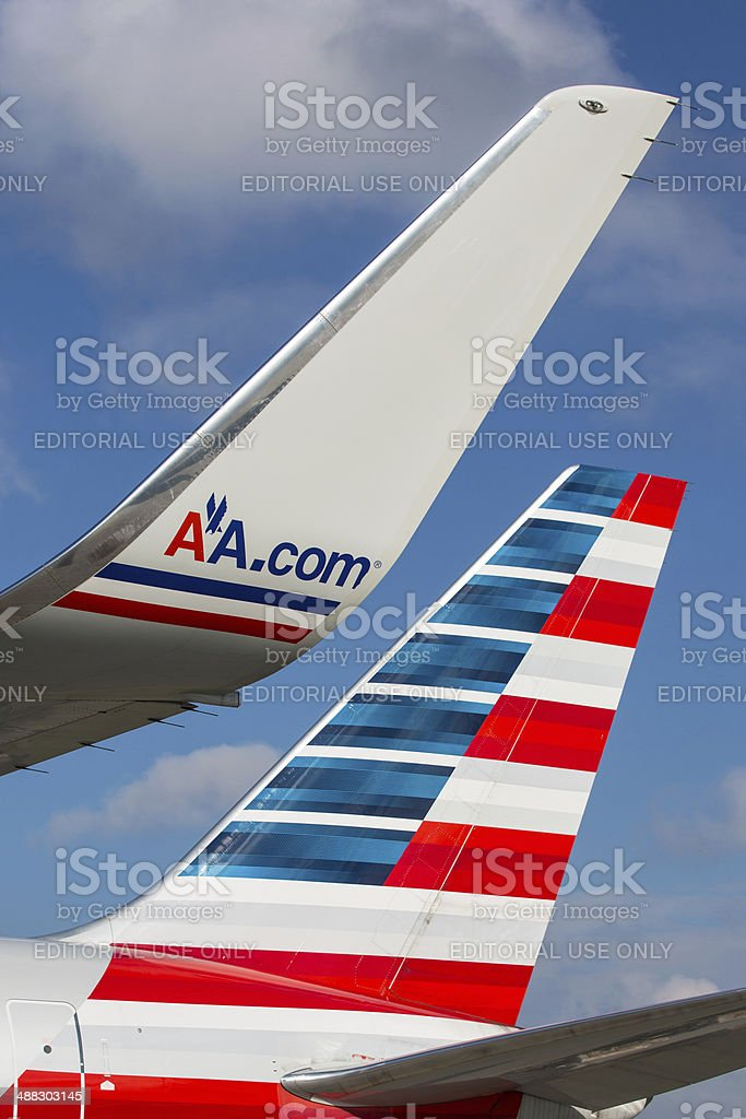 American Airlines Boeing 767 Tail and Winglet stock photo
