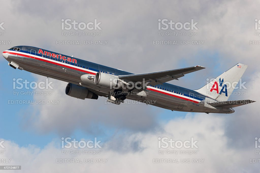 American Airlines Boeing 767 taking off royalty-free stock photo