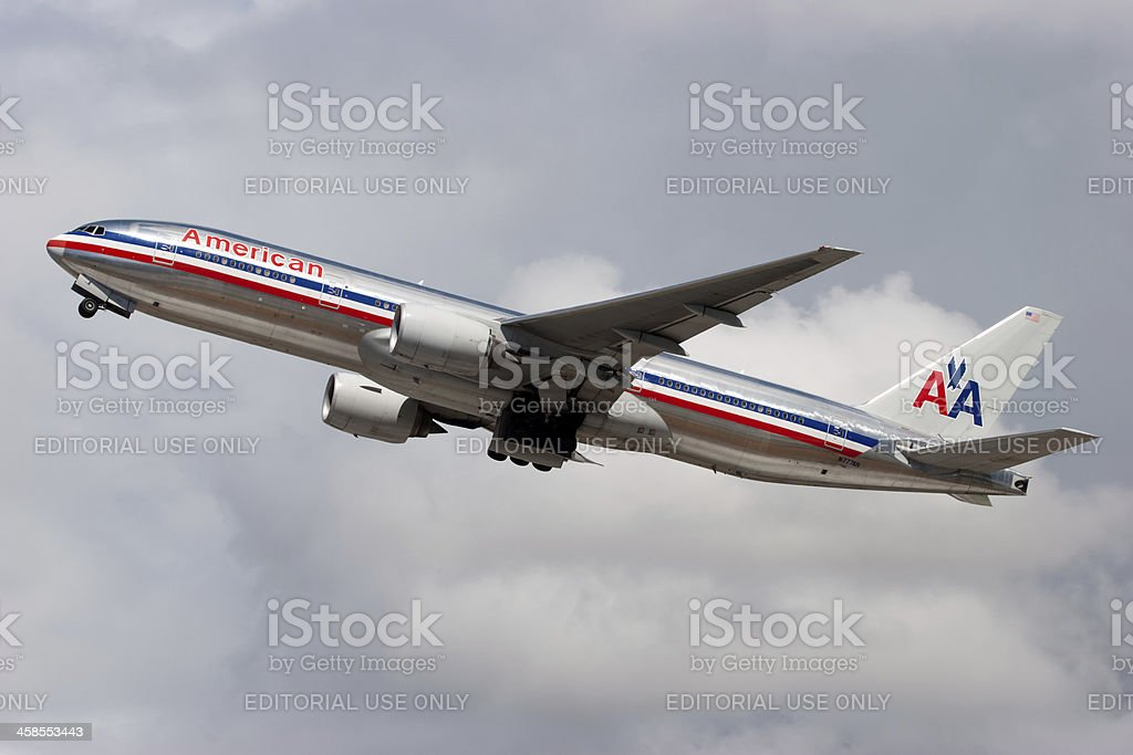 American Airlines Boeing 777 stock photo