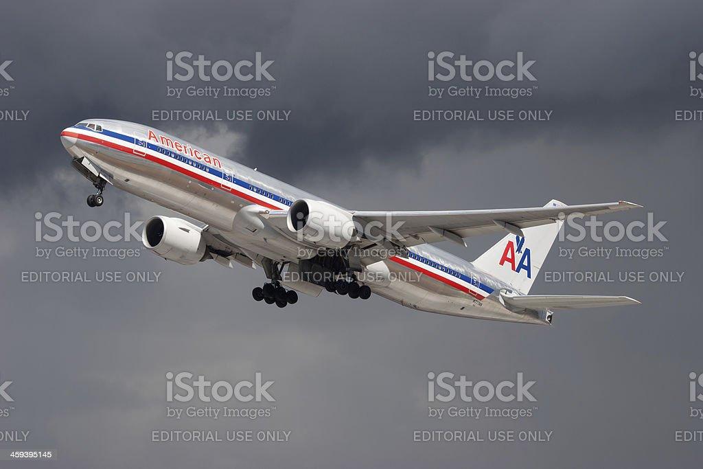 American Airlines Boeing 777 - foto de acervo
