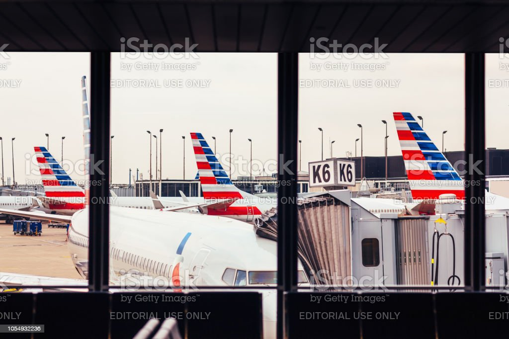 American Airlines Fleet Of Airplanes At Ohare Airport Stock