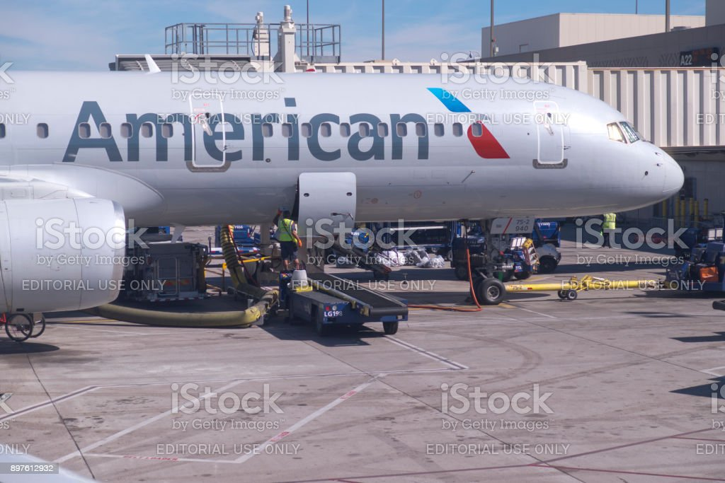 American Airlines Jet Refueling and Loading stock photo