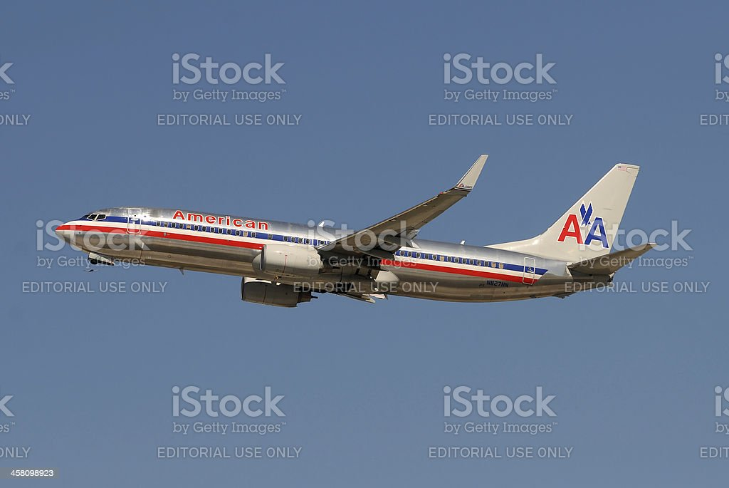 American Airlines jet taking off stock photo
