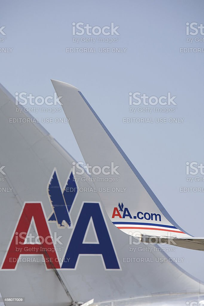 American Airlines Logo on tail and wing stock photo