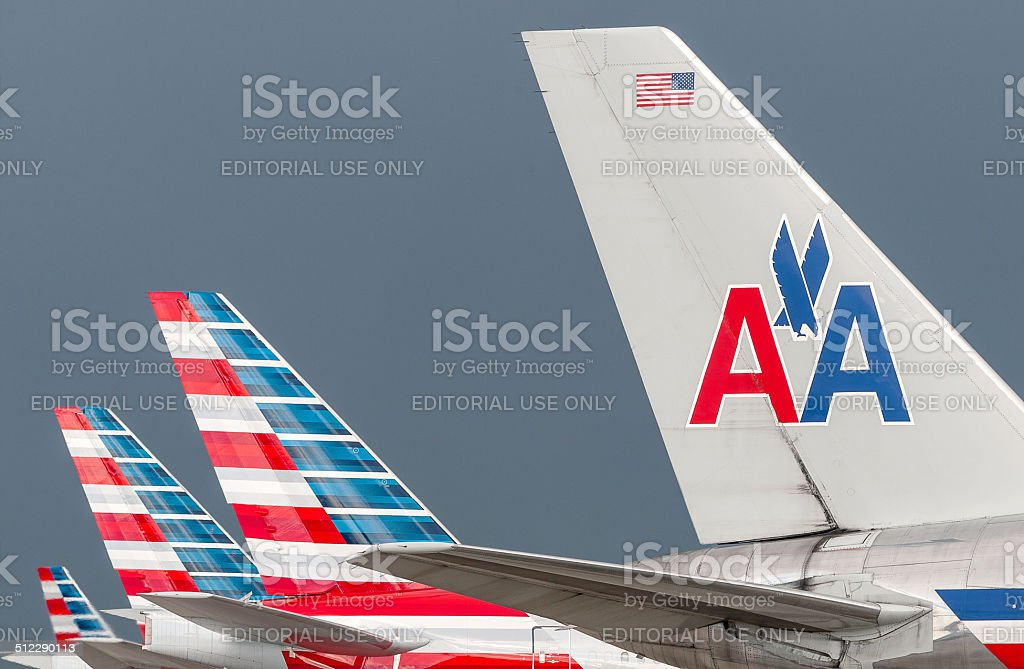 American Airlines passado e do presente - foto de acervo