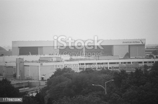 United States - September 14, 2017:  American Airlines building on a hazy morning at John F Kennedy airport in Queens, New York, September 14, 2017