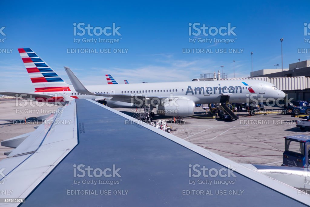 American Airlines Refueling and Loading stock photo