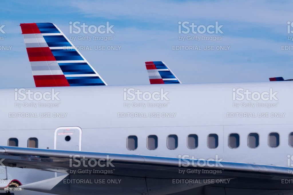 American Airlines Tails stock photo