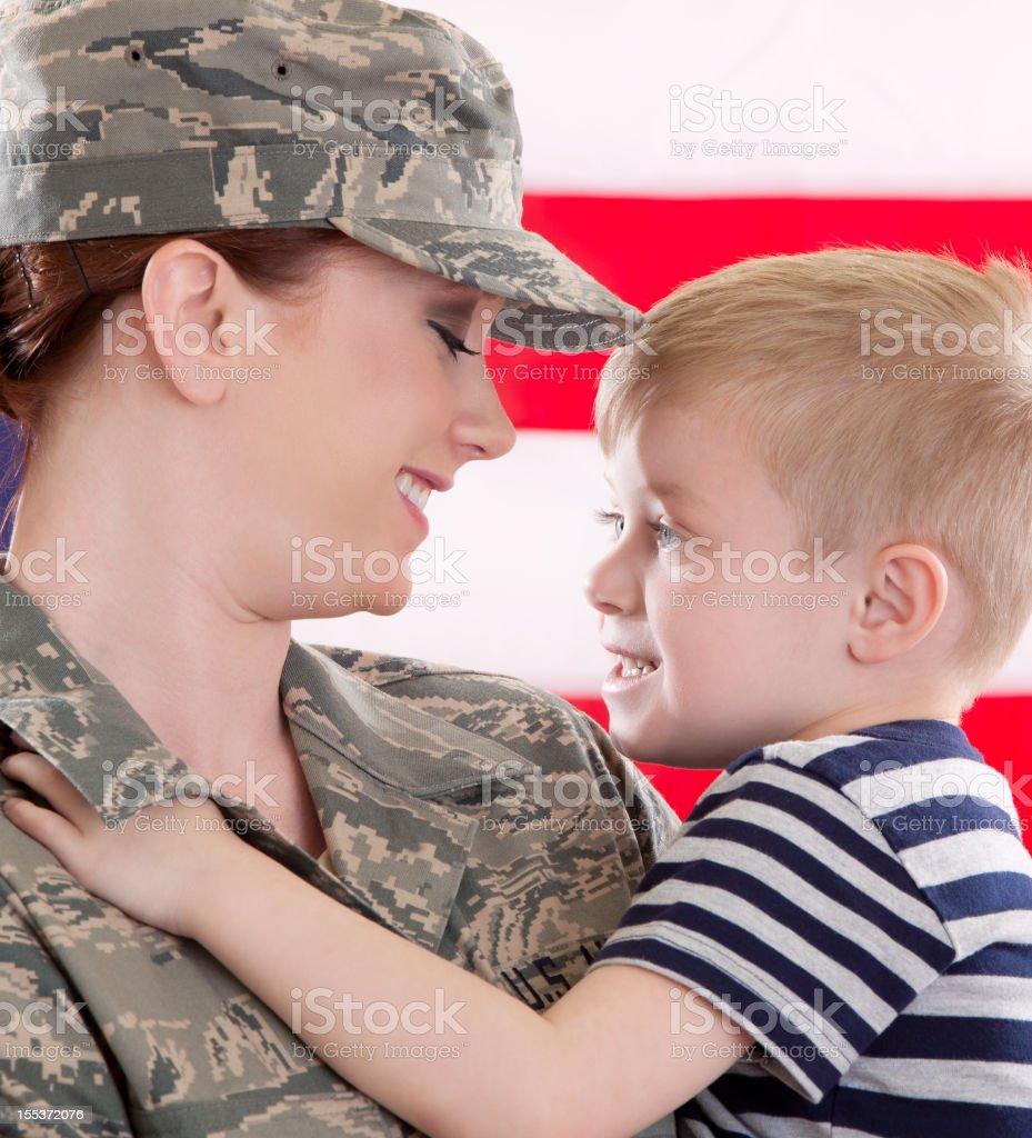 American Airwoman & Son stock photo
