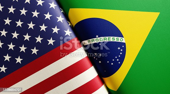 American and Brazilian flag pair. Horizontal composition with copy space and selective focus.