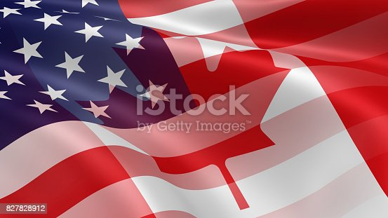 istock American and Canadian Flags 827828912