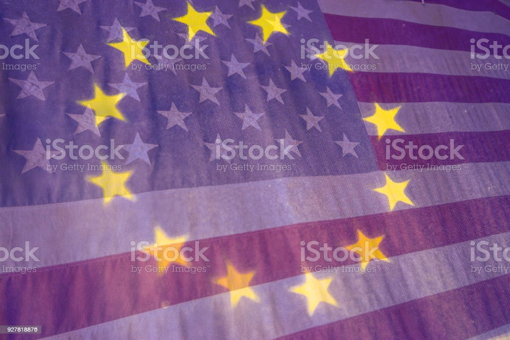 American and Euro flags stock photo