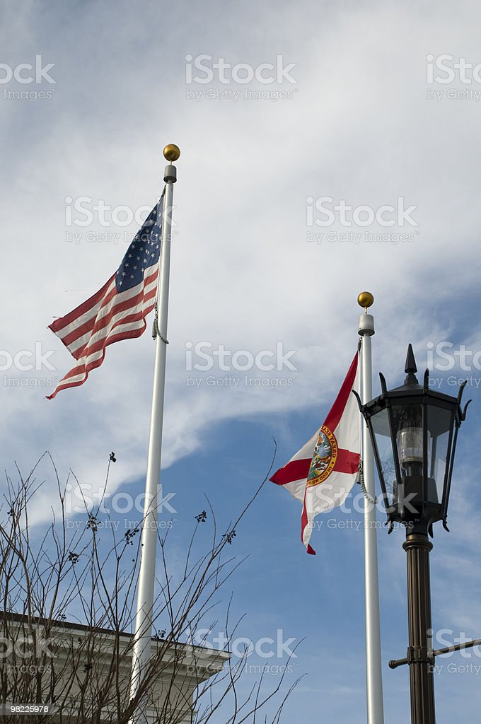 American and Florida Flag royalty-free stock photo