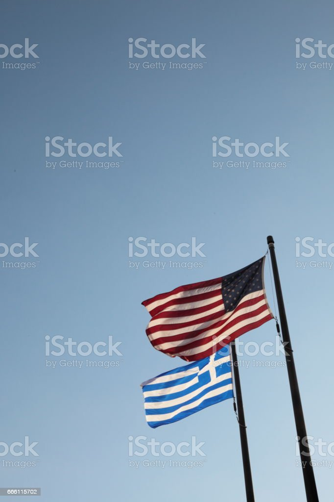 American and Greek flags. - foto de stock