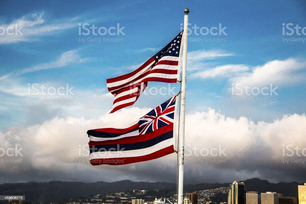 Bandeiras americanas e Havaí - foto de acervo