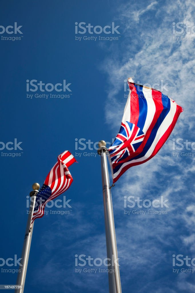 American e Bandeira do estado do Havaí - foto de acervo