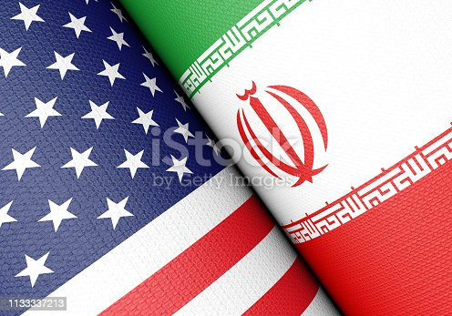 American And Iranian Flag Pair