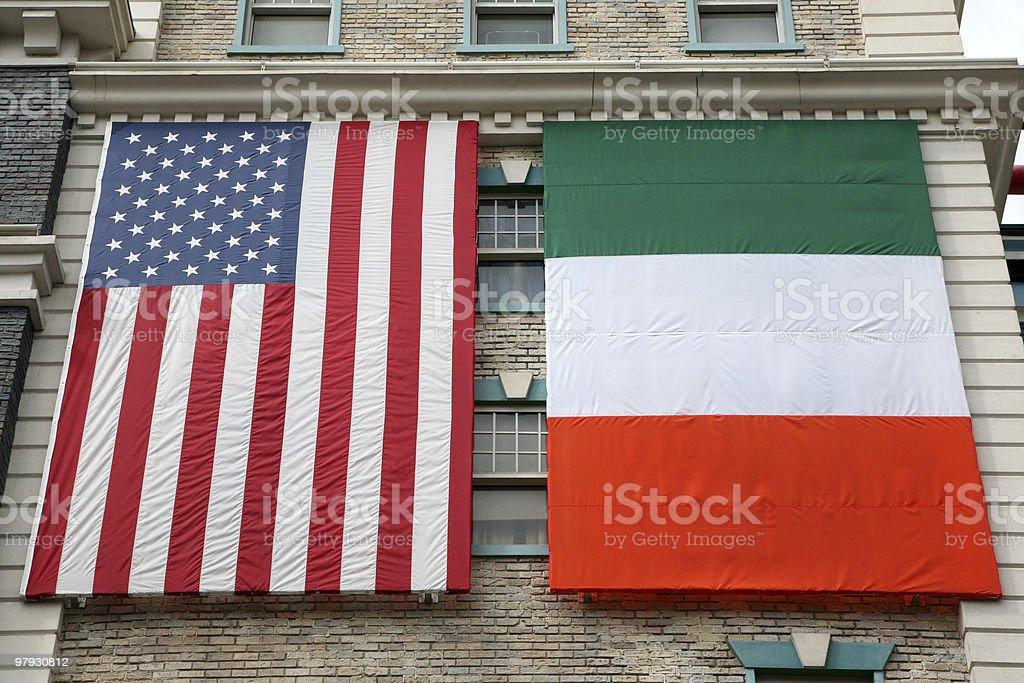 American and Irish flags stock photo