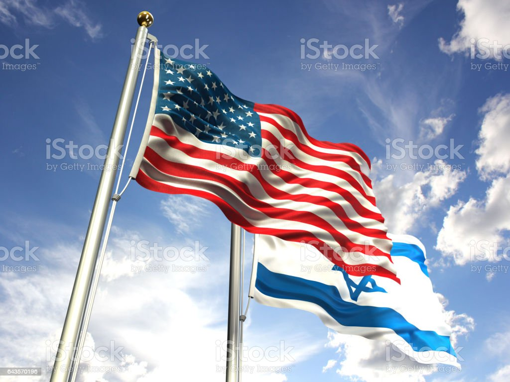American and Israel flags waving against the sky stock photo