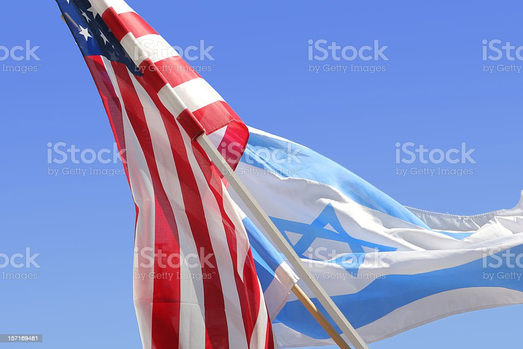 American and Israeli Flags stock photo