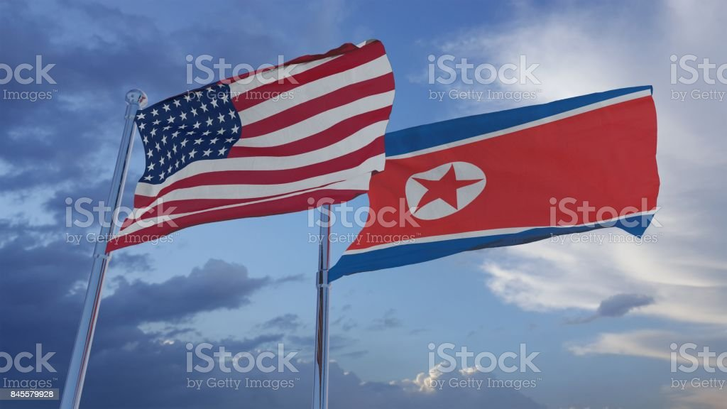 American and North Korean Flags 3D Illustration stock photo