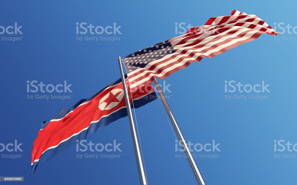 American and North Korean Flags Waving With Wind: Dispute Concept stock photo