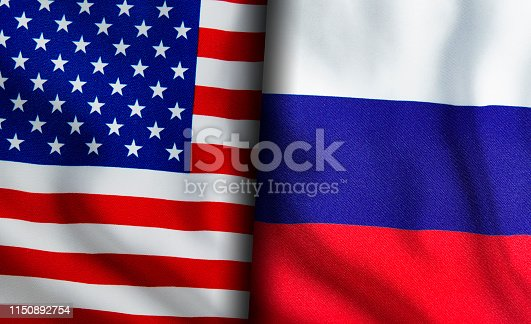 American and Russian flags standing side by side