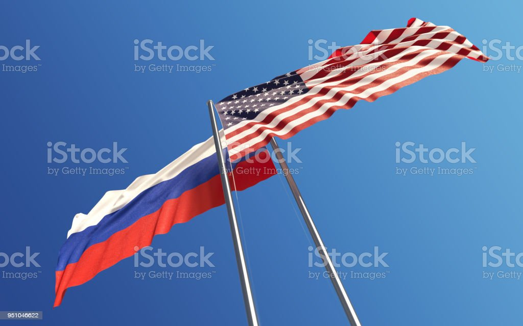 American and Russian Flags Waving With Wind: Dispute Concept stock photo
