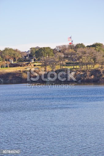 istock American and Texas flags at Brushy Creek Regional Trail 507845242