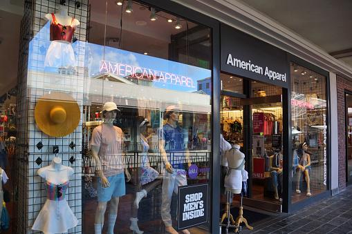 istock American Apparel fashion store  at the Ala Moana Center 687850102