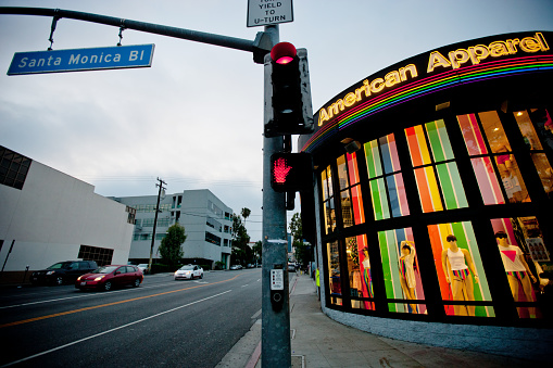 istock American Apparel Store decorated in rainbow colors, West Hollywo 471548423
