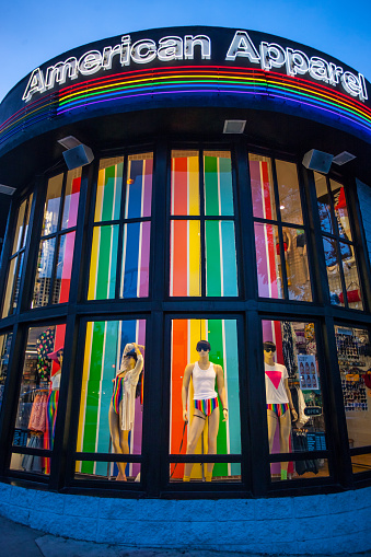 istock American Apparel Store decorated in rainbow colors, West Hollywo 471548437