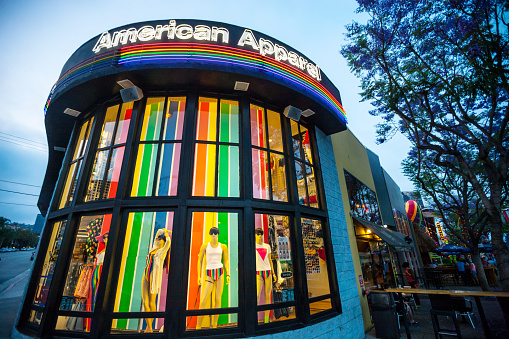 istock American Apparel Store decorated in rainbow colors, West Hollywo 471548615