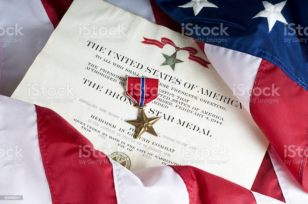 American Army Bronze Star for heroism stock photo