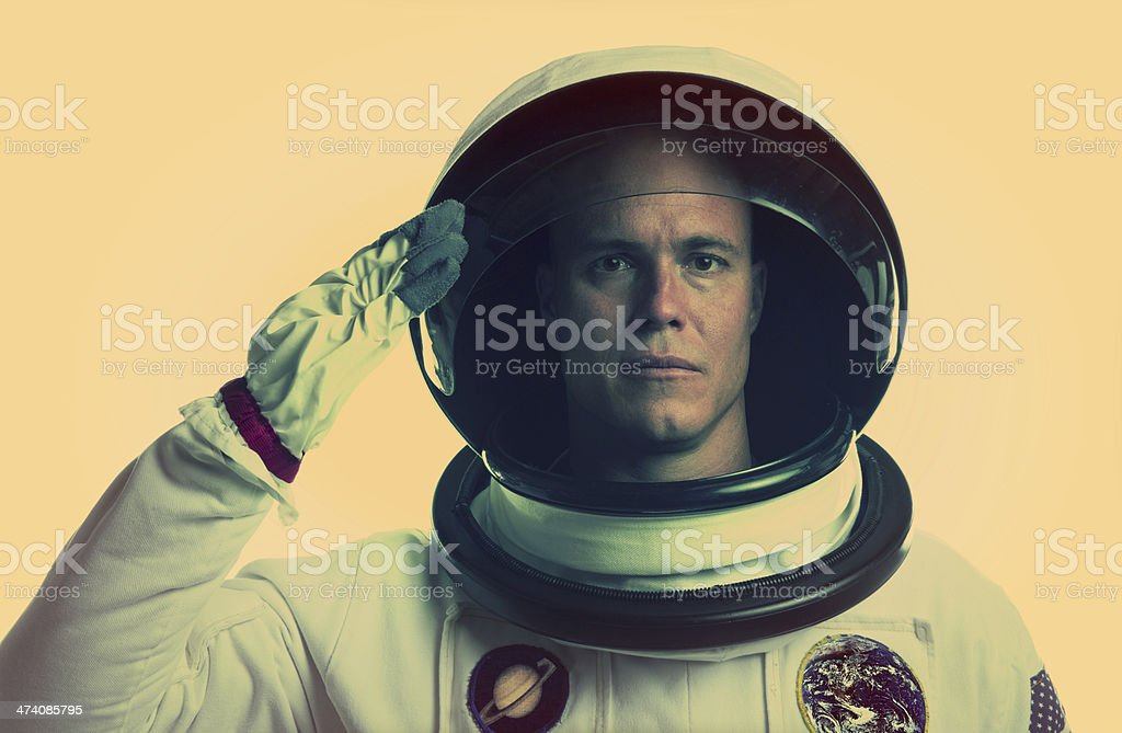 American Astronaut Saluting his Country stock photo