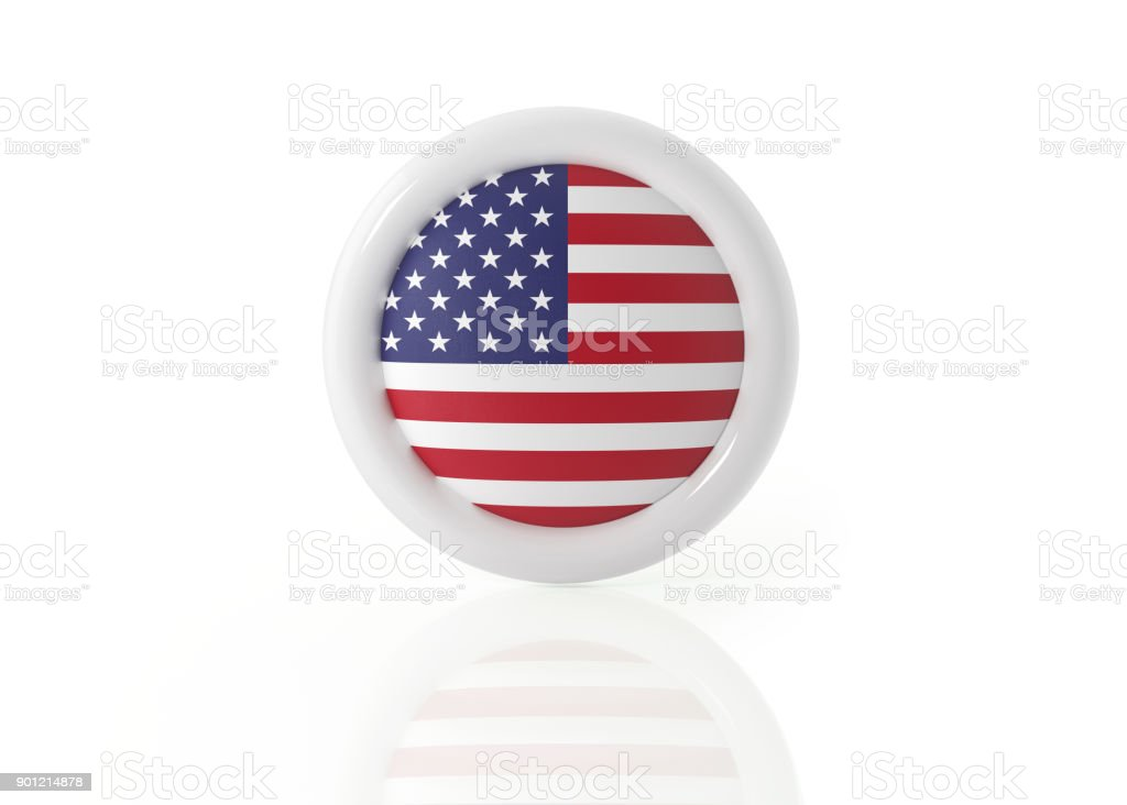 American Badge On White Background stock photo