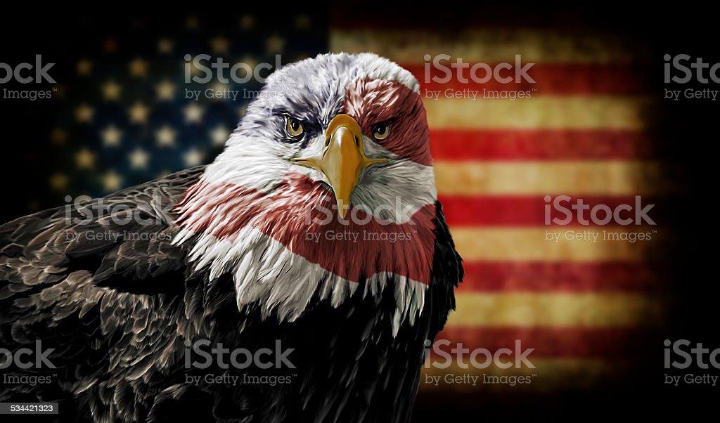 American Bald Eagle on Grunge Flag foto