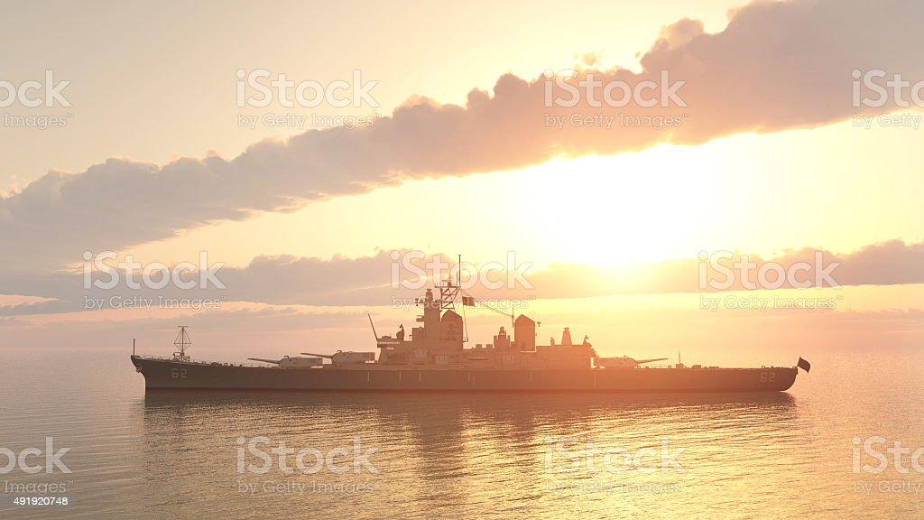 American battleship of World War 2 stock photo