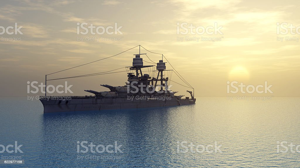 American battleship of World War II stock photo