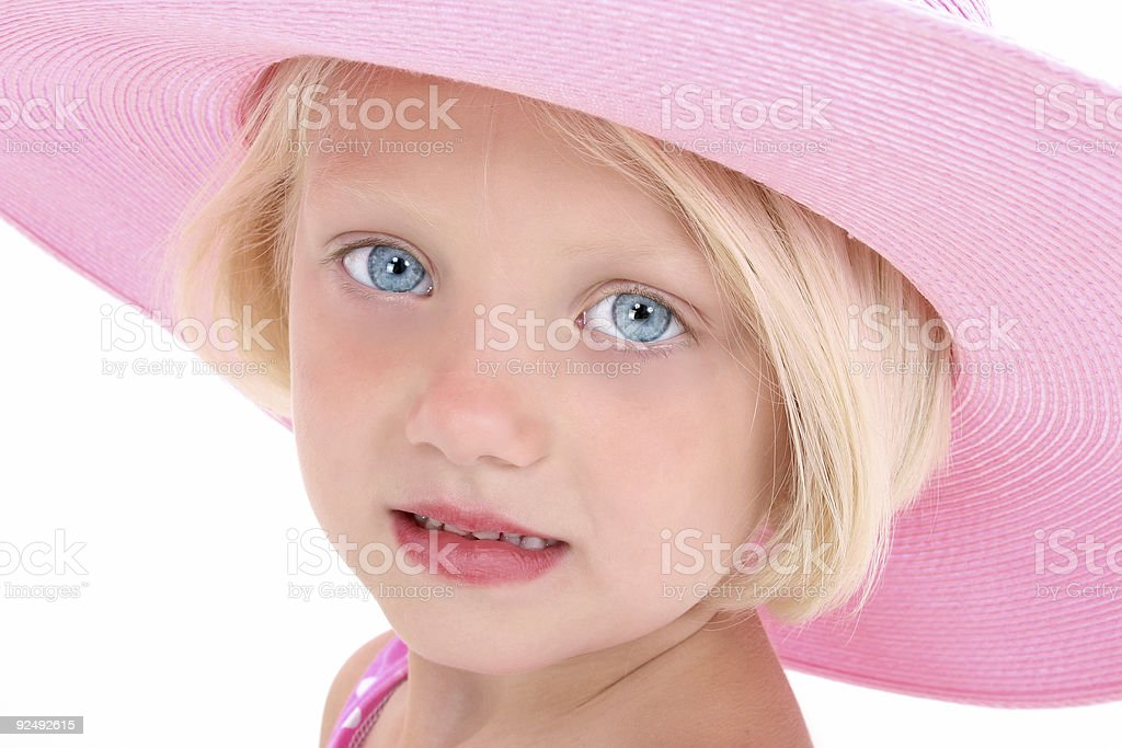 American Beauty In A Big Pink Hat royalty-free stock photo