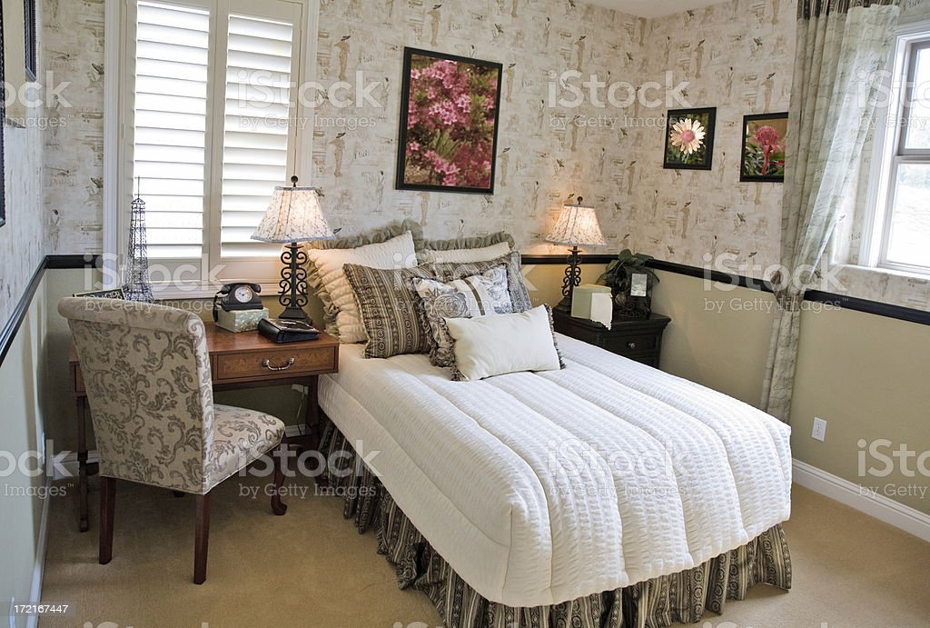 American Bedroom With Morning Sunlight royalty-free stock photo